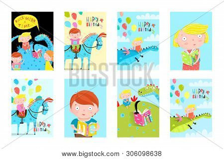 Kids Fun Reading Books Balloons Birthday Fairy Tales Event Cards Collection