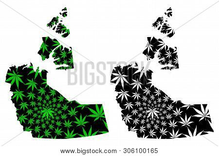 Northwest Territories (provinces and territories of Canada) map is designed cannabis leaf green and black, Northwest Territories map made of marijuana (marihuana,THC) foliage, poster