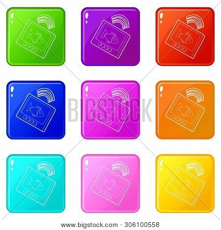 Echo Sounder Icons Set 9 Color Collection Isolated On White For Any Design