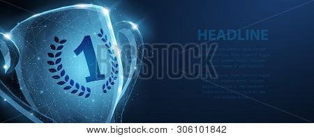 Trophy Cup. Abstract Vector 3d Trophy Wreath Laurel Isolated Background. Champions Award, Sport Vict