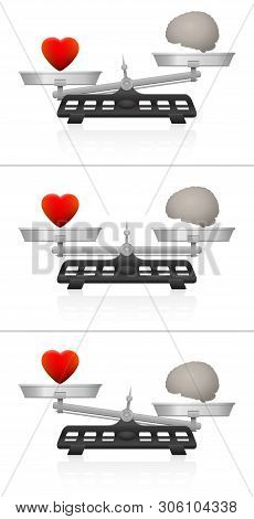 Weighing scales with brain and heart. Symbol for balance of mind and soul, of intellect and emotion, of thinking and feeling. Equal and unequal weightiness. Vector on white.