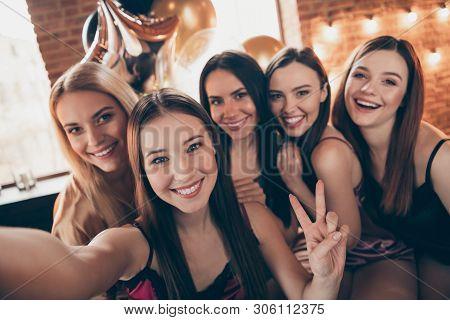 Close Up Photo Five Beautiful She Her Chic Ladies Make Take Selfies Show V-sign Having Fun Joy Amaze