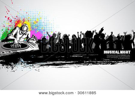 illustration of disco jockey with party crowd on musical background