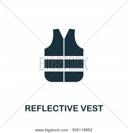 Reflective Vest Icon Symbol. Creative Sign From Construction Tools Icons Collection. Filled Flat Ref