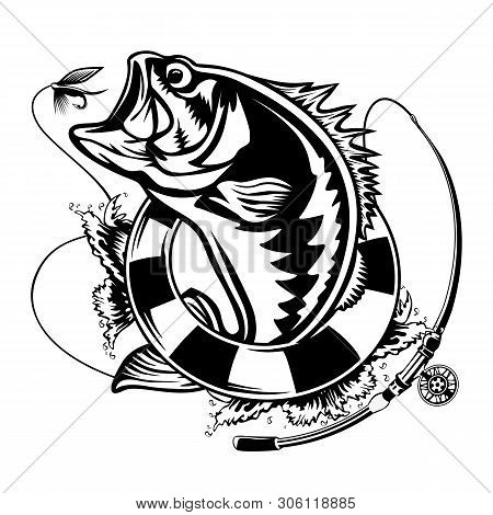 Fishing Emblem Of  Bass Isolated On White. Bone Fish Logo In Blue Colours. Ocean Theme Background.