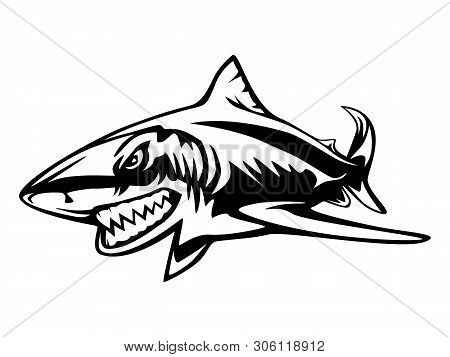 Fishing Emblem Of  Shark Isolated On White. Bone Fish Logo In Blue Colours. Ocean Theme Background.