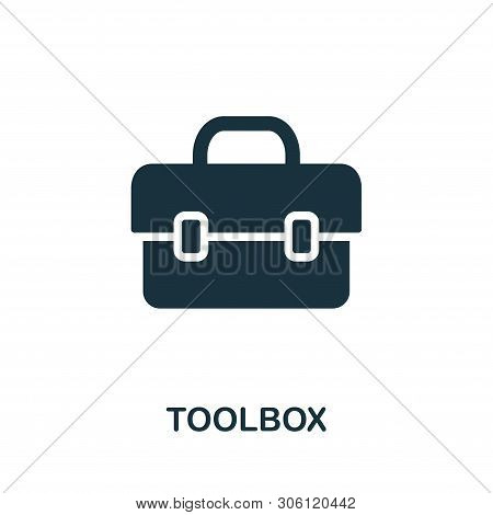 Toolbox Vector Icon Symbol. Creative Sign From Construction Tools Icons Collection. Filled Flat Tool