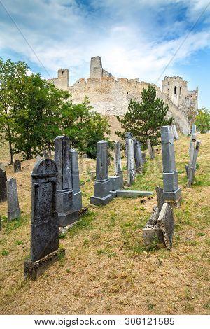 Beckov, Slovakia - August 03, 2015  Castle In Beckov - Slovakia. Jewish Cemetery Near Beckov Castle