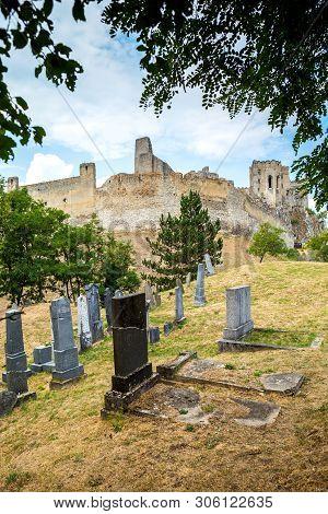 Beckov, Slovakia - August 03, 2015; Castle In Beckov - Slovakia. Jewish Cemetery Near Beckov Castle