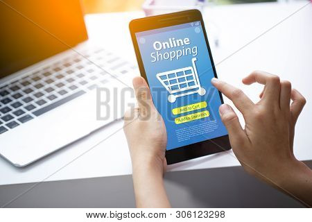 Smart Phone Online Shopping In Woman Hand. Payments Online.network Connection On Mobile Screen.