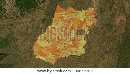 Boundaries of Tocantins State - mideast Brazil poster