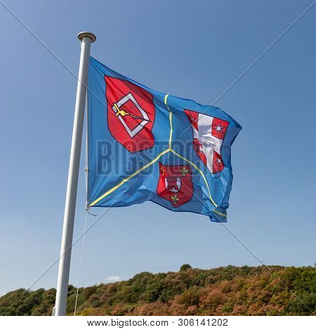 Brandenbourg, Luxembourg - August 22, 2018: Flag At Tower Medieval Ruin Of Brandenbourg In Luxembour