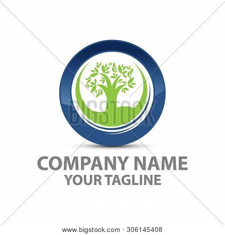 Green Tree With Leaves Logo . Six Logo Tree Green Isolated On Wgite Background. Herbal Leaf , Ecolog