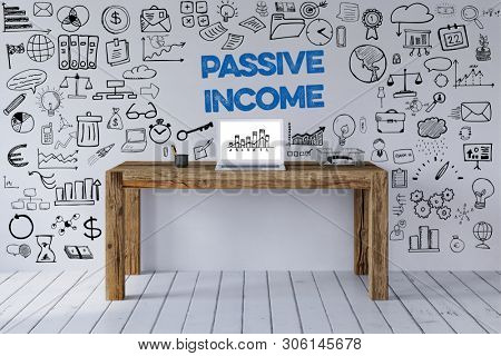 Office Desk With Laptop And Passive Income Slogan With Icons On The Wall As Concept For Passive Income (3d rendering)