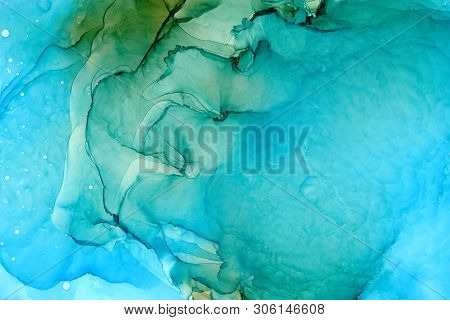 Turquoise Resin Art Background. Flowing Alcohol Ink Abstract Texture. Light Blue Colored Texture. Et