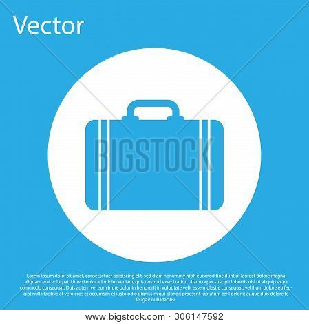 Blue Suitcase For Travel Icon Isolated On Blue Background. Traveling Baggage Sign. Travel Luggage Ic