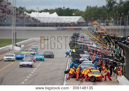June 10, 2019 - Brooklyn, Michigan, USA: Joey Logano (22) makes a pit stop during the FireKeepers Casino 400 at Michigan International Speedway in Brooklyn, Michigan.