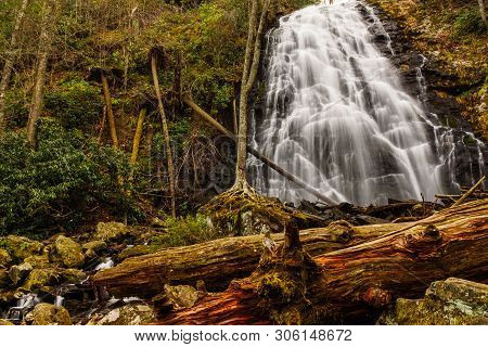 Crabtree Falls Near The Blue Ridge Parkway In North Carolina, United States