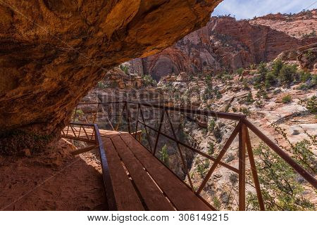 Canyon Overlook Trail In Zion National Park In Utah, United States