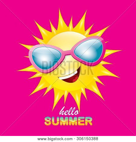 Vector Hello Summer Creative Label With Smiling Shiny Sun Isolated On Pink Background. Summer Party