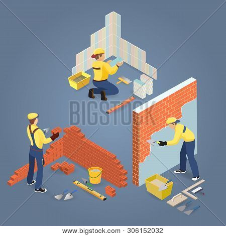 Construction Or Home Repairs Concept. Isometric Workers, Tools. Vector.