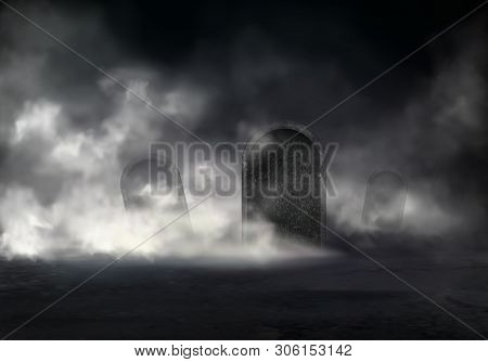 Old cemetery at night realistic with sloping gravestones covered thick fog in darkness illustration. Mysterious mist on graveyard. Creepy Halloween background with mystical scene in moonlight poster