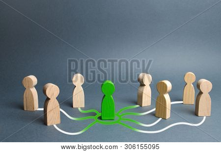 The Green Figure Of A Person Unites Other People Around Him. Call For Cooperation, Creating A New Te