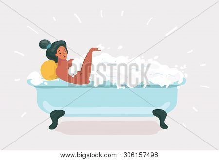 Vector Cartoon Illustration Of Woman Taking A Bath. Relaxing Girl In Bathroom. Funny Leasure Concept