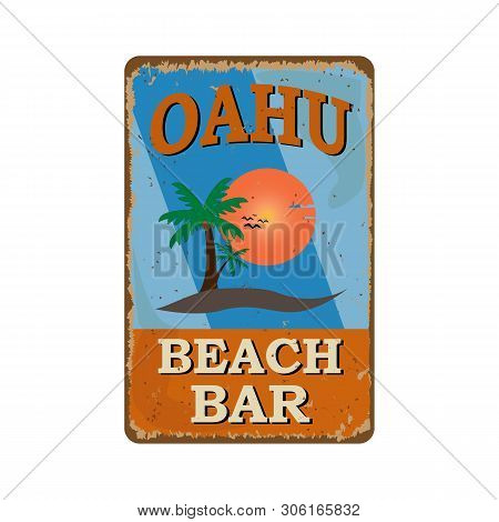 Label With The Text Oahu Beach Bar, Paradise Island, Vector Illustration.