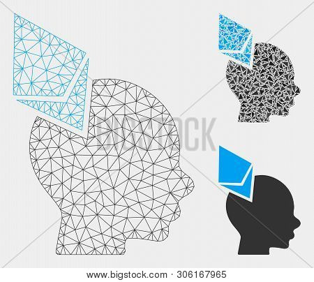 Mesh Ethereum Penetrated Head Model With Triangle Mosaic Icon. Wire Frame Polygonal Mesh Of Ethereum