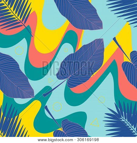 Jungle Foliage Illustration. Colorful Tropical Print. Floral Vintage Seamless Pattern. Summer Tropic