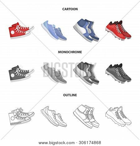 Vector Illustration Of Shoe And Sport Icon. Set Of Shoe And Fitness Stock Vector Illustration.