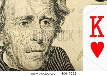 Twenty dollars banknote and a card