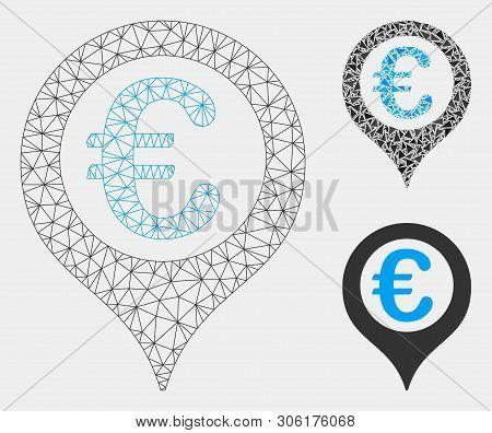 Mesh Euro Geotargeting Model With Triangle Mosaic Icon. Wire Frame Triangular Mesh Of Euro Geotarget