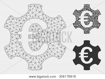 Mesh Euro Industry Model With Triangle Mosaic Icon. Wire Frame Polygonal Mesh Of Euro Industry. Vect