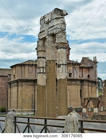 The Temple Of Venus Genetrix Is A Ruined Temple In The Forum Of Caesar, Dedicated To The Roman Godde