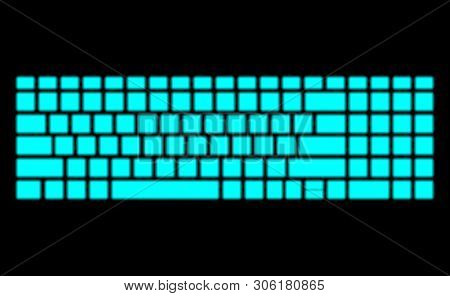 Neon Keyboard On Black Background. Modern Fluorescent Design For Banner. Dark Vector Luminescent Ill