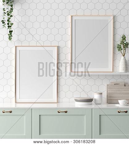 Mock Up Poster Frame In Kitchen Interior, Scandinavian Style, 3d Illustration