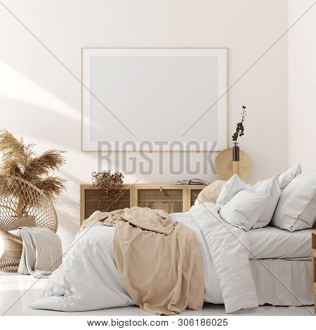 Mock Up Frame In Bedroom Interior, Beige Room With Natural Wooden Furniture, Scandinavian Style, 3d