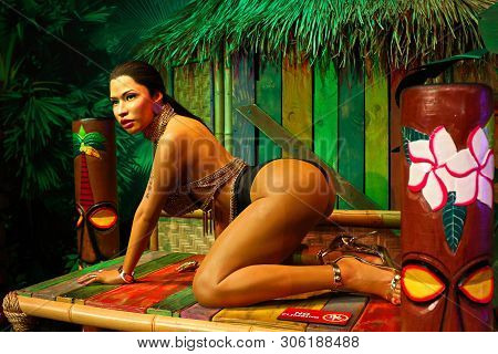 Las Vegas,nv/usa -  Oct 09,2017: Wax Figure Of Trinidadian/american Singer, Songwriter, Rapper And A