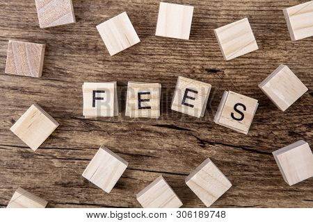 Concept Fees: Wooden Cubes With The Letters Fees On Wooden  Background