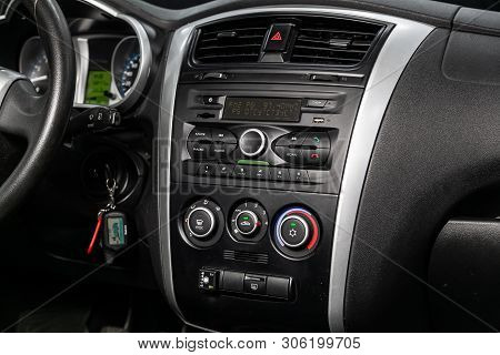 Novosibirsk, Russia - June 11, 2019:  Datsun On-do, Close-up Of The Dashboard With Clock, Temperatur