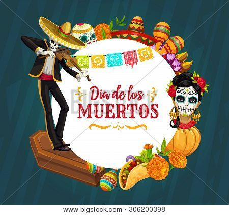 Mexican Day Of The Dead Holiday Vector Greeting Card Of Mariachi Skeleton Playing Violin, Catrina An