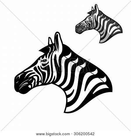 Zebra Head Icon, Wild African Animal Muzzle. Vector Outline Zebra Horse Head Symbol Of Sport Team Ma