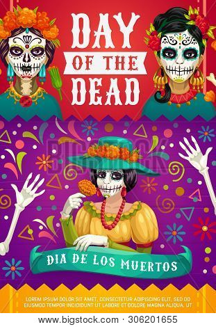 Day Of Dead Mexican Dia De Los Muertos Party Poster Of Woman Calavera Skull With Marigold Flowers Wr