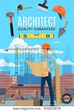 Builder Architect And Construction Worker Profession. Vector Professional Architecture Building Engi