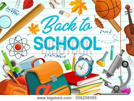 Back To School, Education Supplies And Student Classes Items On Copybook Background. Vector Back To