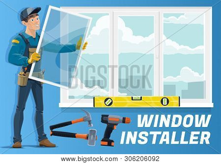 Window Installer Profession, Home Windows Installation Service Company. Vector Carpenter Worker With