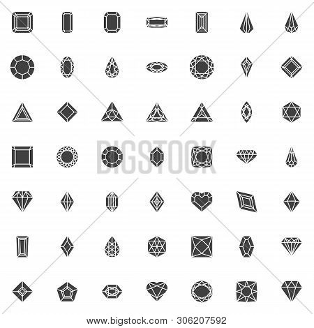 Various Diamond Shapes Vector Icons Set, Modern Solid Symbol Collection, Filled Style Pictogram Pack