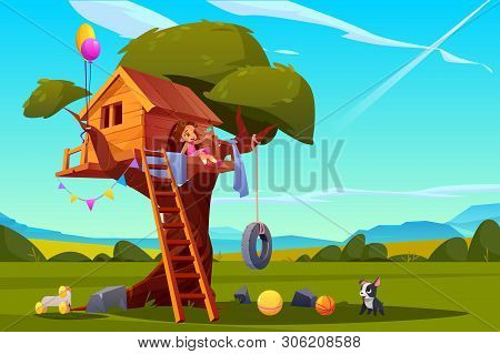 Child On Tree House, Little Girl With Dog Playing On Children Playground, Treehouse With Wooden Ladd